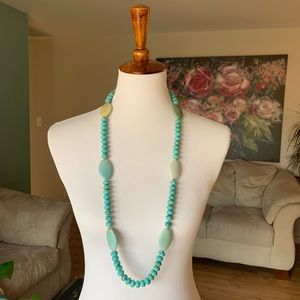Long turquoise and sterling silver necklace